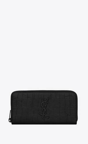 monogram zip-around wallet in crocodile-embossed leather