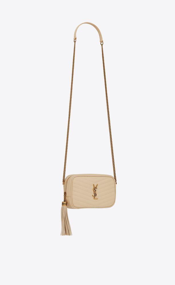 lou mini-tasche aus gestepptem leder mit grain-de-poudre-prägung