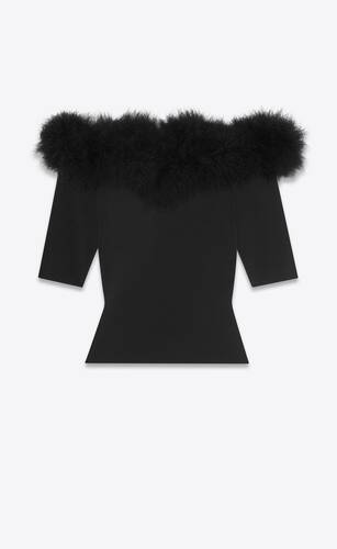 ribbed top in stretch viscose and feathers