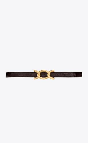 chain-buckle belt in crocodile-embossed shiny leather