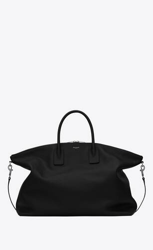 grand sac bowling en cuir grainé souple