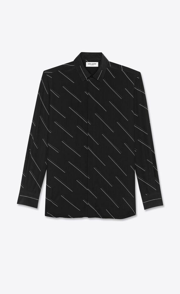 diagonal double dash shirt in silk crepe de chine