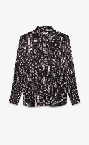 chemise en satin de soie à motif pointillé