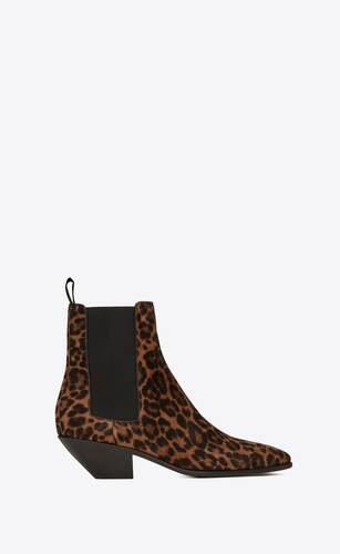 stivaletti chelsea west in suede leopardato