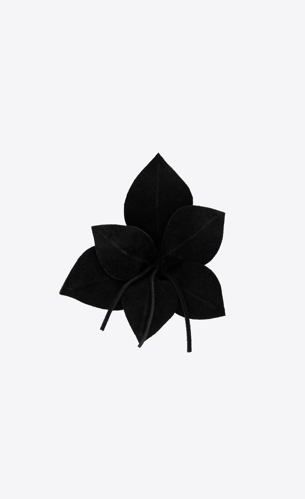 tropical flower brooch in suede