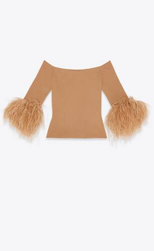 ribbed top in viscose and ostrich feathers