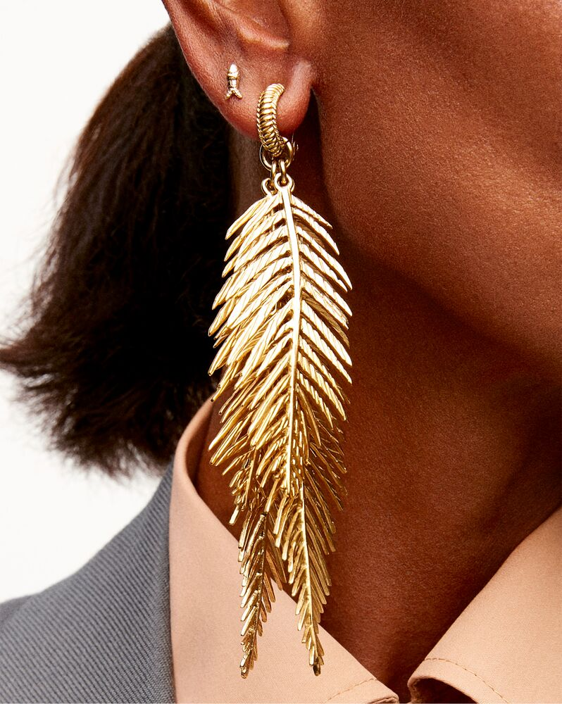 triple palm-leaf earrings in metal