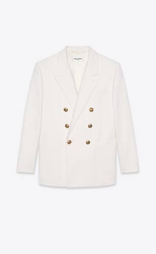 veste tailleur à double boutonnage en sergé de laine