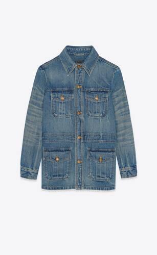 saharienne jacket in authentic dark blue denim