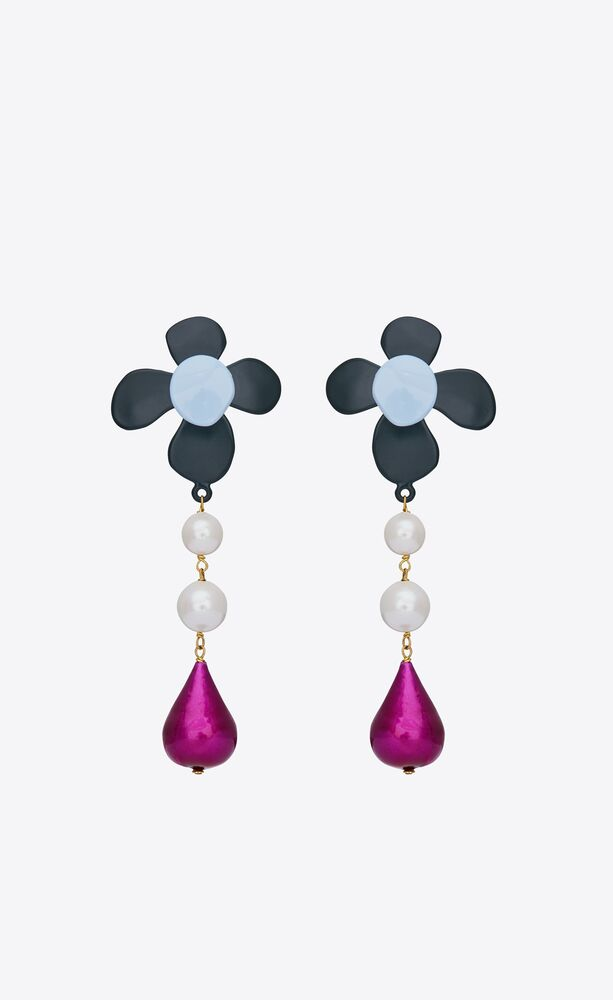 flower teardrop earrings in metal and enamel