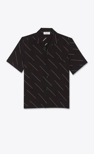 shark-collar shirt in diagonal double dash silk crepe de chine