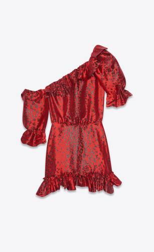 robe asymétrique en lamé à imprimé léopard