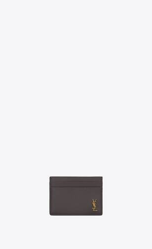 tiny monogram card case in grained leather