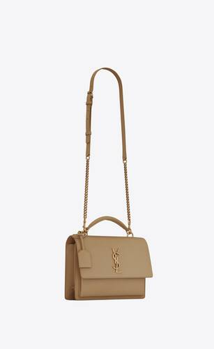 medium sunset satchel en cuir lisse