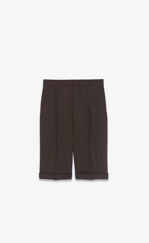 pleated bermuda shorts in gabardine