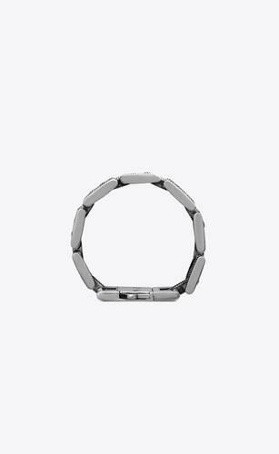 textured link bracelet in metal