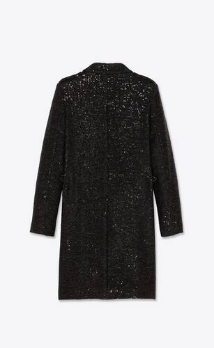 sequined tweed coat