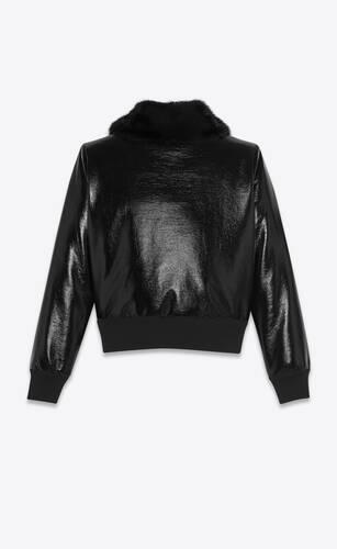 크링클 비닐과 밍크 소재의 테디 재킷