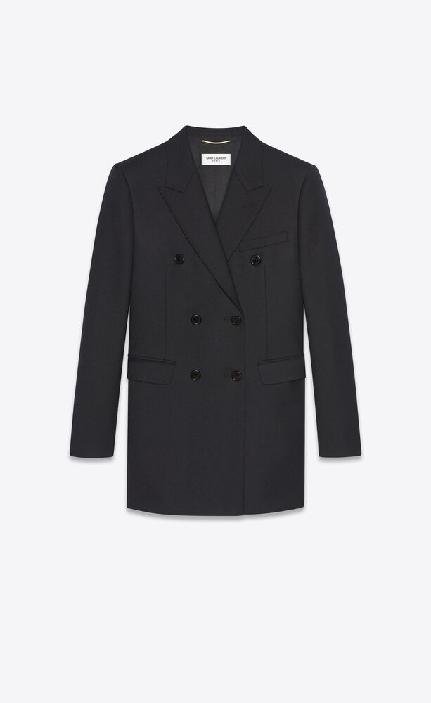 울 개버딘 소재의 더블 브레스트 재킷