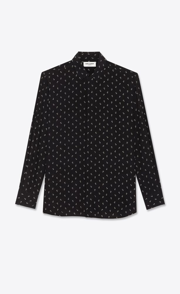 anchor shirt in silk crepe de chine