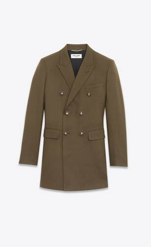 double-breasted oversized jacket in wool gabardine
