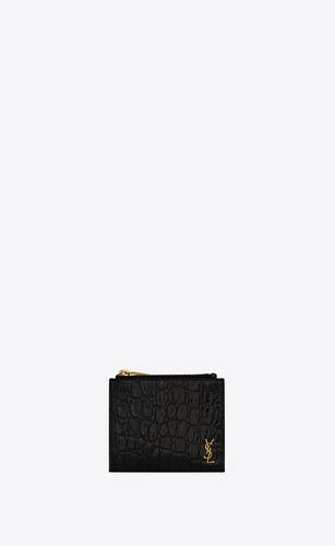 tiny monogram zip card case in crocodile-embossed leather