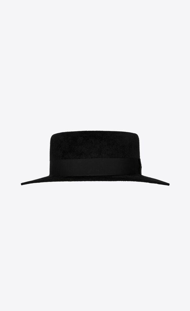 boater hat in velvet rabbit felt