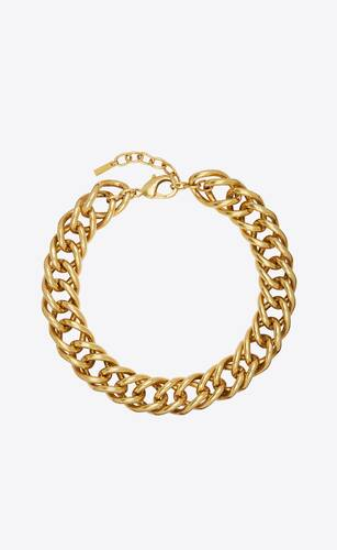 oversized double curb-chain necklace in metal