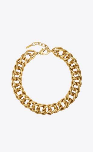 collar oversize de doble cadena gourmette de metal