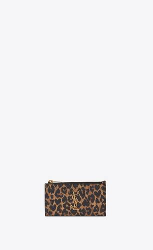 monogram fragments zip card case in heart-shaped leopard-print leather