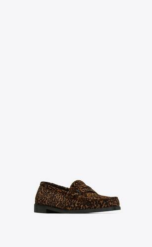 le loafer monogram penny slippers in leopard-print pony-effect leather