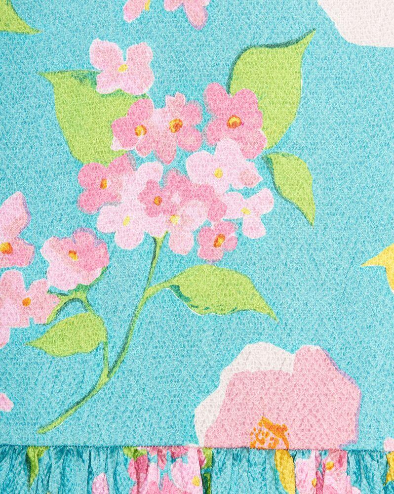 babydoll dress in crinkled floral viscose