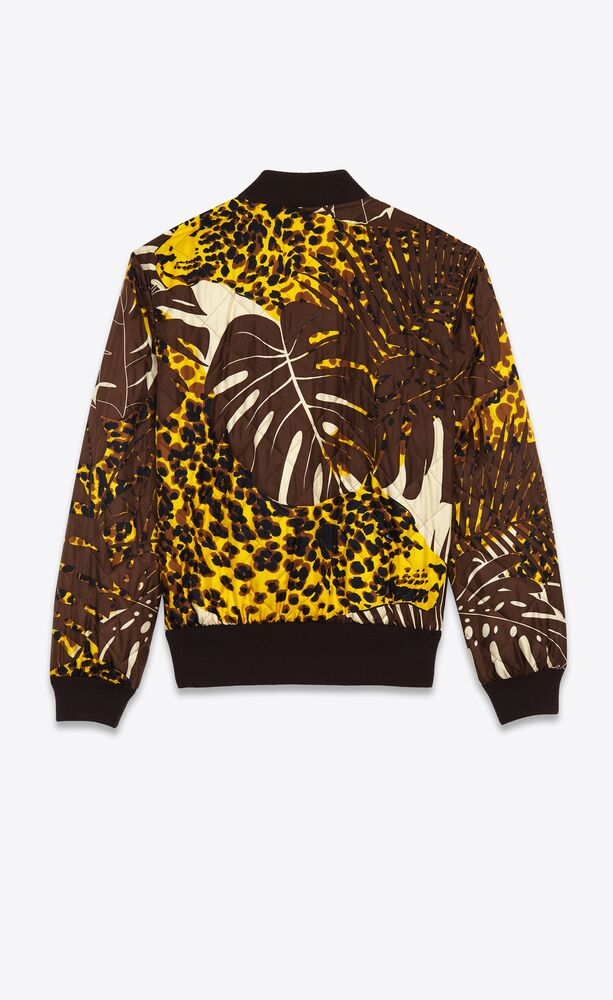 teddy jacket in quilted twill with nocturnal leopard print