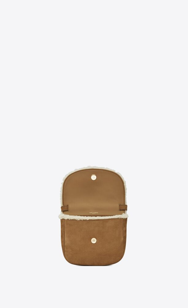 kaia small satchel in nubuck and shearling