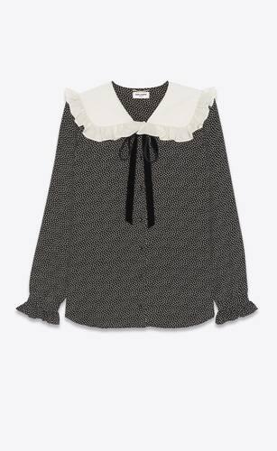 blouse à volants en crêpe de chine de soie à pois