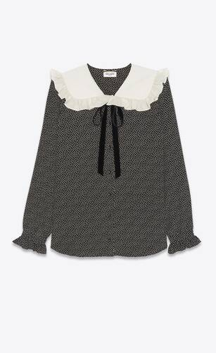 frilled blouse in dotted silk crepe de chine