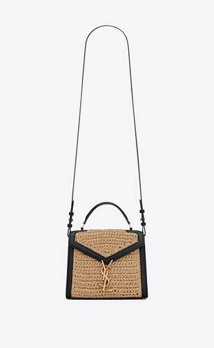 cassandra mini top handle bag in raffia and leather