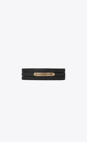 narrow multi-wrap saint laurent id bracelet in smooth leather and metal