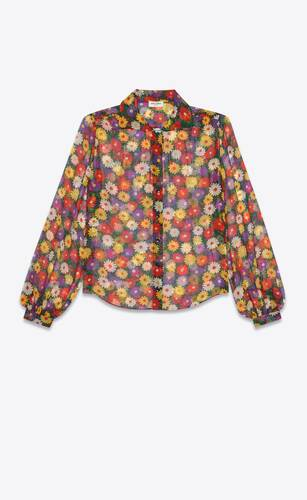 retro flower blouse in silk muslin
