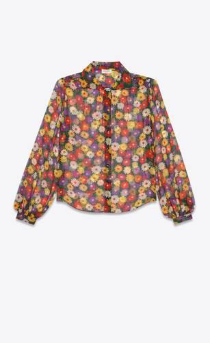 blusa de muselina de seda con motivo floral retro