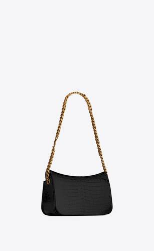elise chain bag en cuir verni embossé alligator