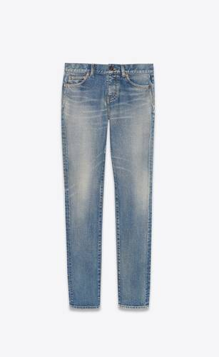 low-rise jeans in dirty sandy blue denim