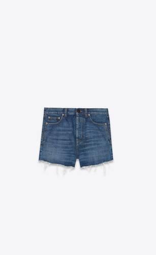 slim-fit shorts in blue ink wash denim
