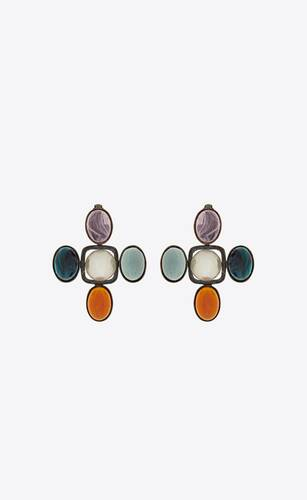 cross earrings in metal and resin