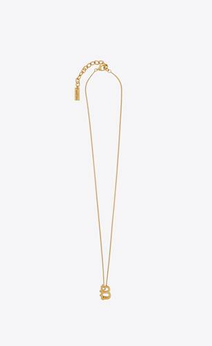 letter b pendant necklace in 18k gold