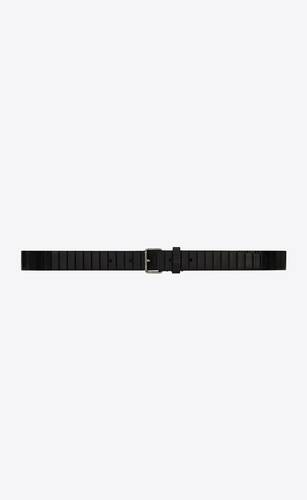motorcycle belt with curved rectangular buckle in strip-embossed leather
