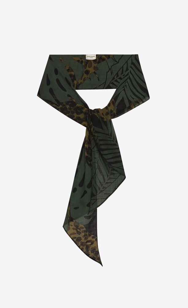 lavallière scarf in nocturnal jungle leopard wool etamine