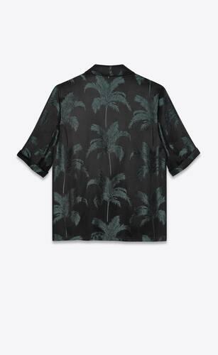 robe shirt in palm satin jacquard
