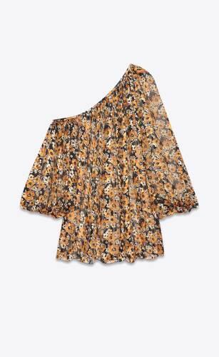 asymmetrical floral dress in dévoré-striped silk satin