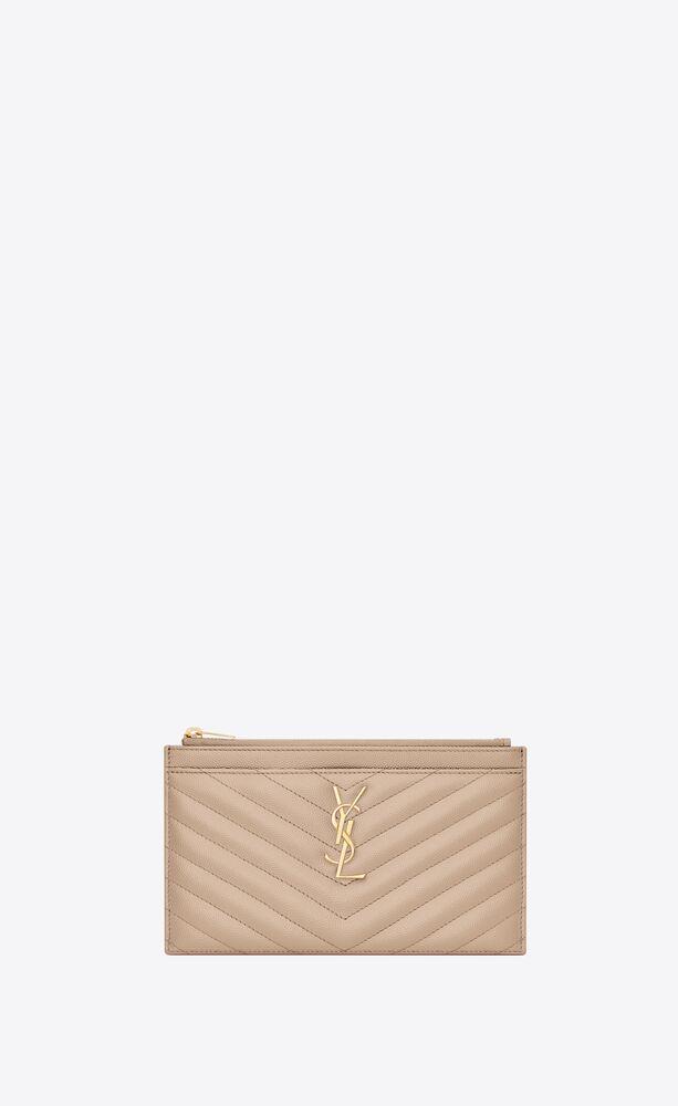 monogram brieftasche aus leder mit grain-de-poudre-prägung